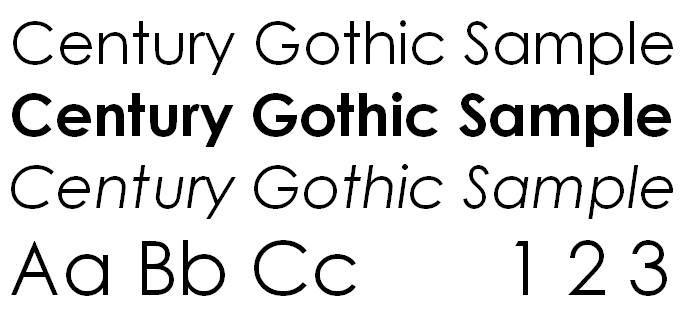 Century Gothic best fonts for printing